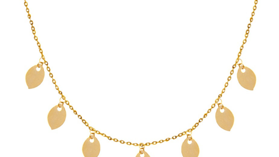 Yellow Gold Necklace with seven Leaves hanging