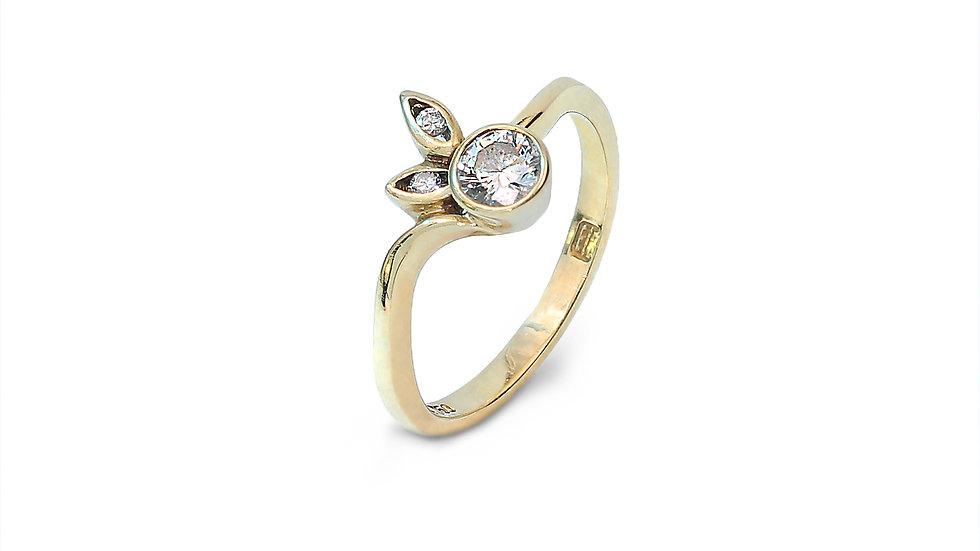 Diamond Gold Ring with  Apple design