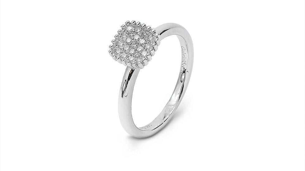 White Gold Cushion Shape Diamond Pavé  Ring