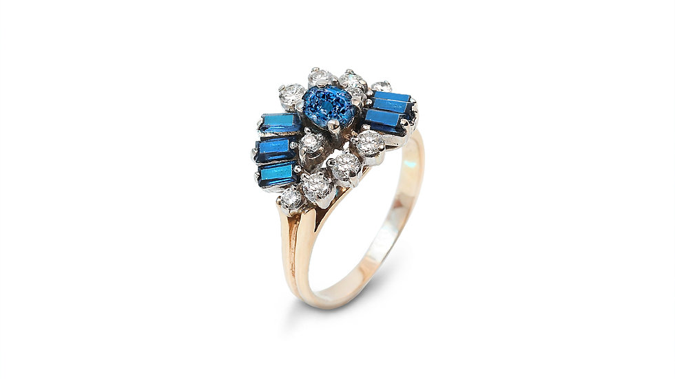 Two Tone Sapphire Diamond Ring