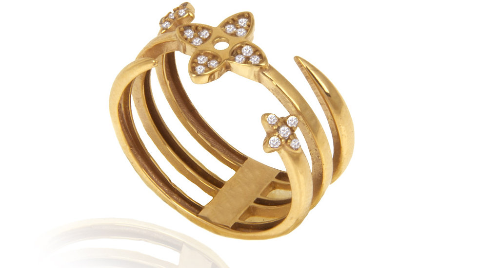 Yellow Gold Ring with Three separate band
