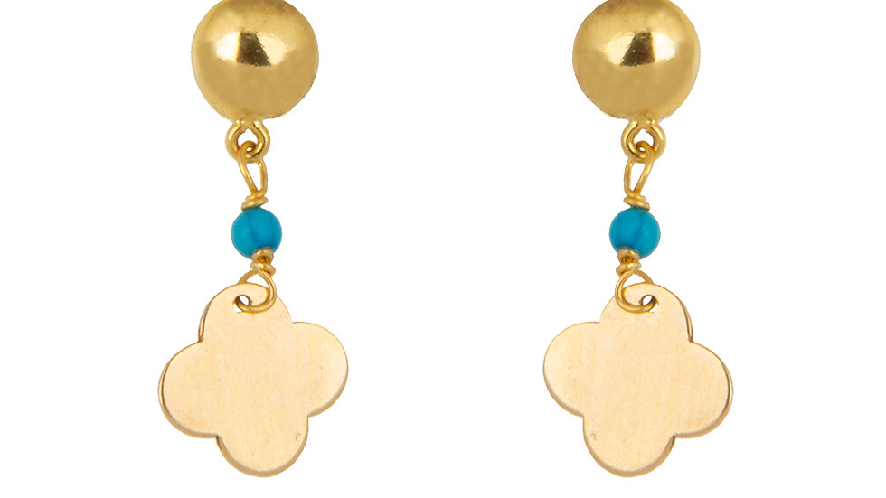 Yellow Gold Dangling Earring with on Turquoise bead