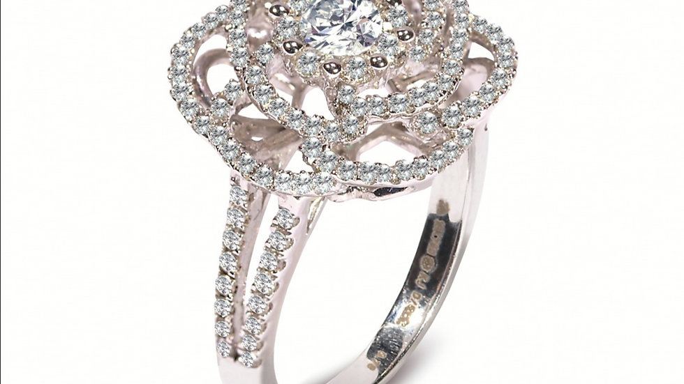 White Gold Flower Shape Cocktail Diamond Ring