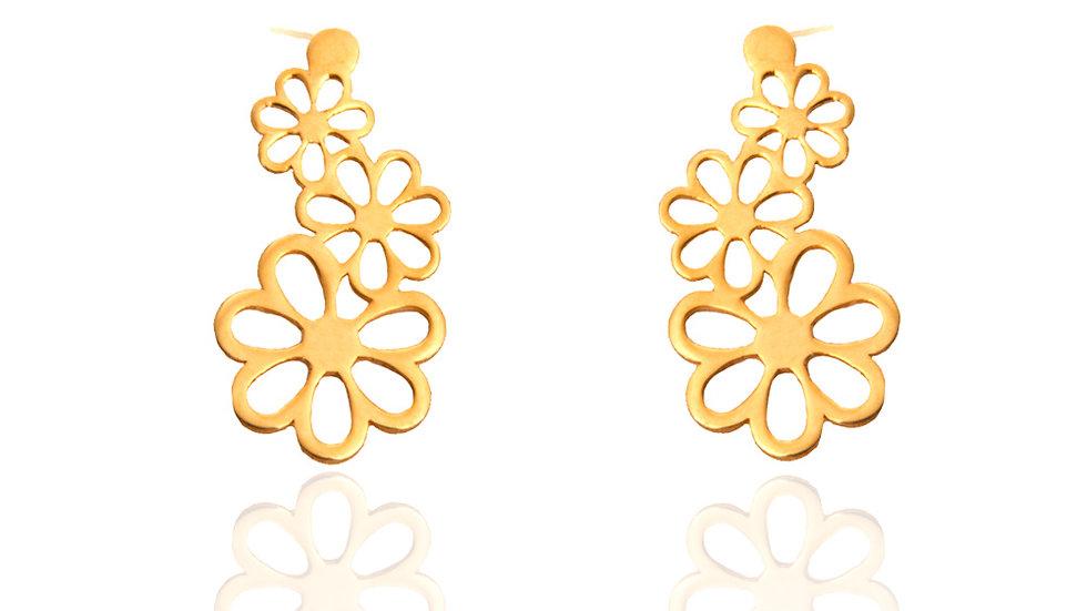 Yellow Gold Earrings, Three Flowers