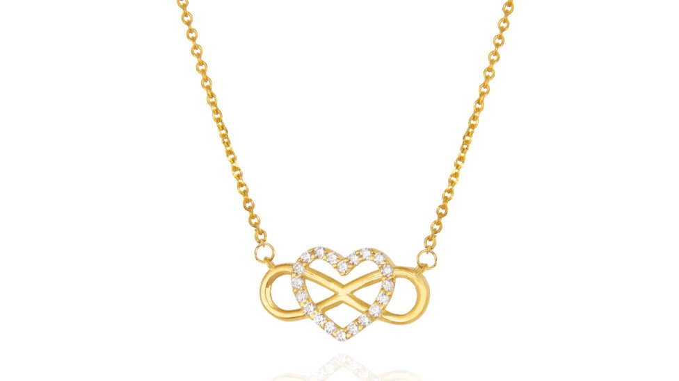Yellow Gold Necklace  with Heart and infinity design