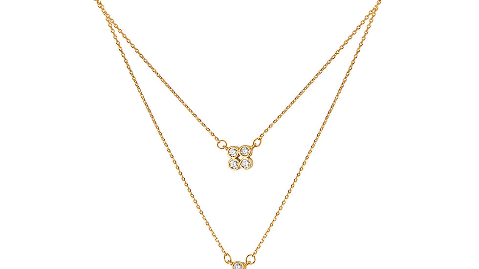 Yellow Gold Two Layer Necklace