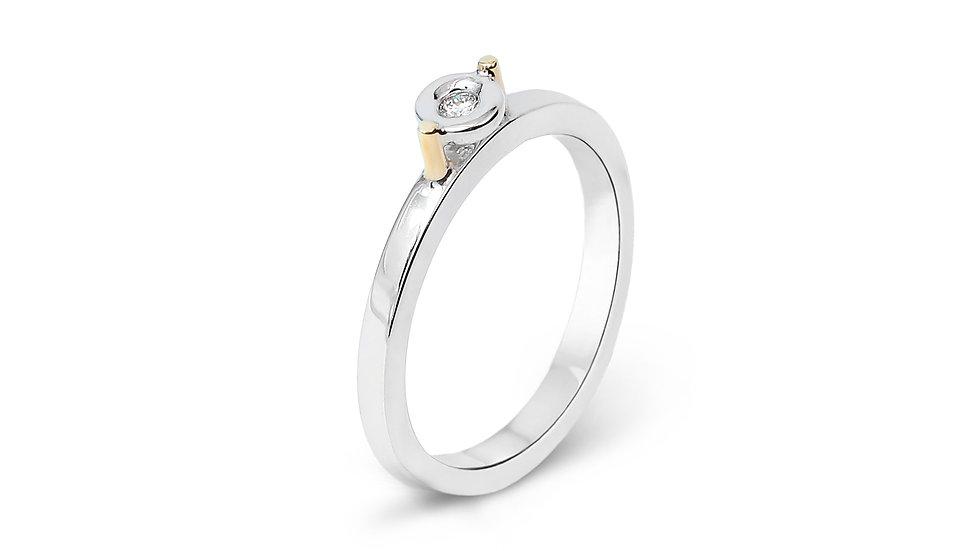 White Gold Bazel-Set Diamond Ring