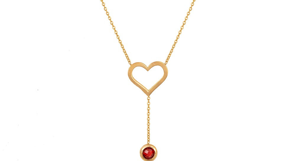 Yellow Gold Lariat Necklace with a heart and Synthetic Garnet