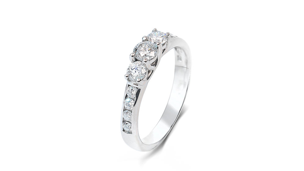 White Gold Engagement Ring with One Row Diamonds.