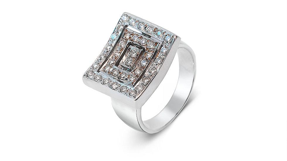 White Gold Triple Rectangular Diamond Ring.