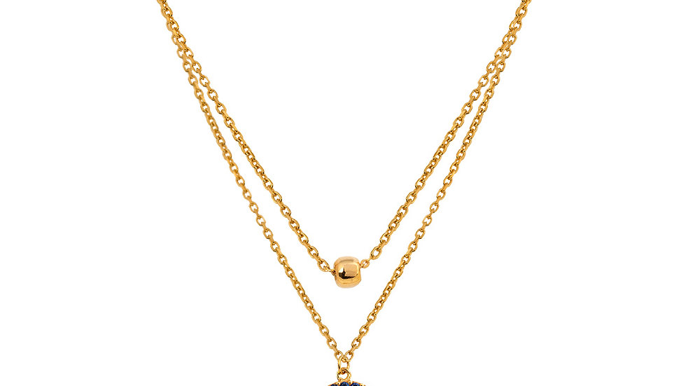 Yellow Gold Two Layer Necklace, Evil Eye and gold Ball setting