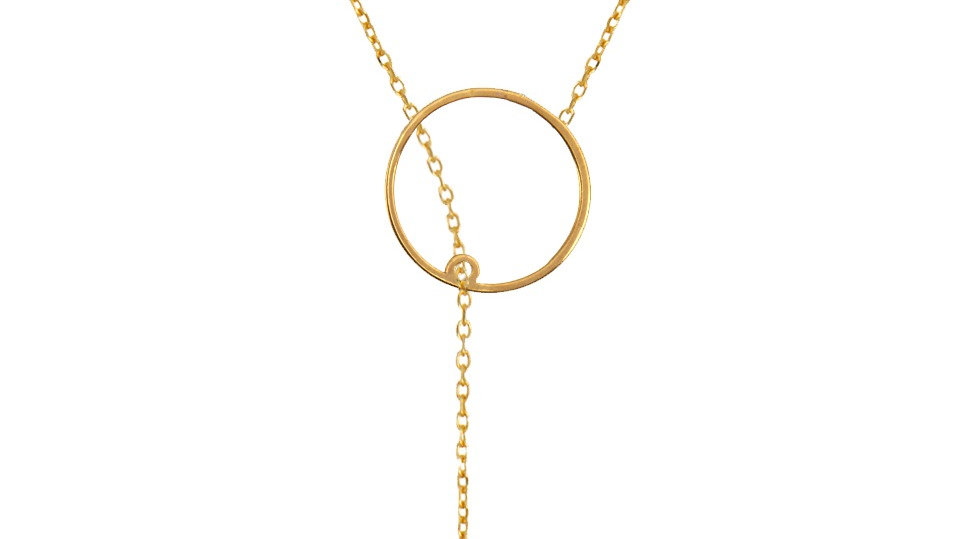 Yellow Gold Y Pendent Necklace