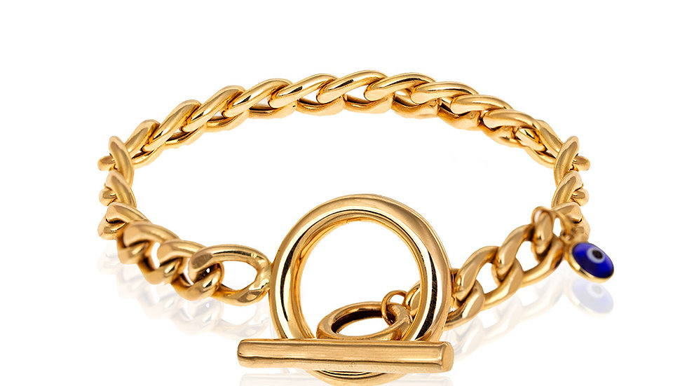 Yellow Gold Curb chain Bracelet with Toggle Clasp