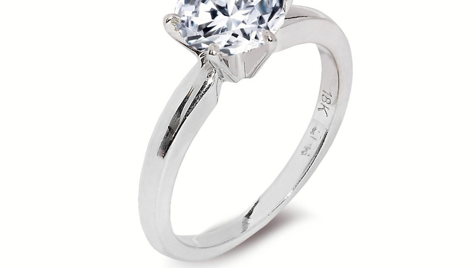 White Gold Solitaire Lab Diamond Ring