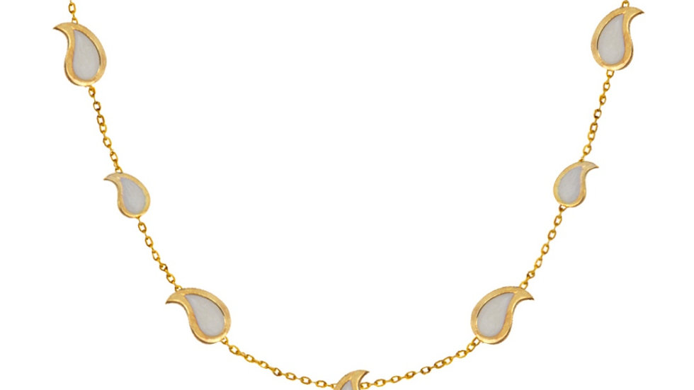YellowGold Station Necklace With Multiple Pear Shaped Enameled Piece.