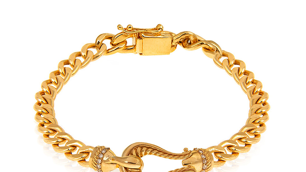 Yellow Gold Bracelet, Curb Chain with U design