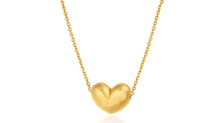 Yellow Gold Necklace with gold Heart