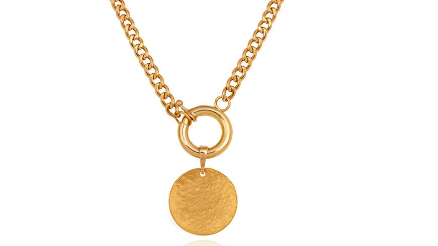 Yellow Gold Necklace with Curb Chain and Single Circle Charm