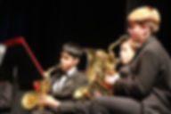 MVHS Wind Ensemble Saxophone players during a performance.