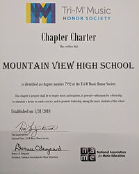 Certificate saying Mountain View High School is a Chapter Charter in the Tri-M Music Honor Society