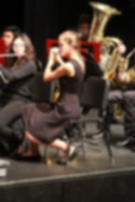 MVHS Symphonic Band Flutists and Tuba player during a performance
