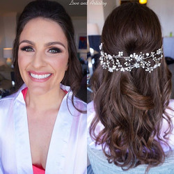 💐Bridal Hair & Makeup Design 💕Took a long vine hair piece and folded it in half to fit perfectly i