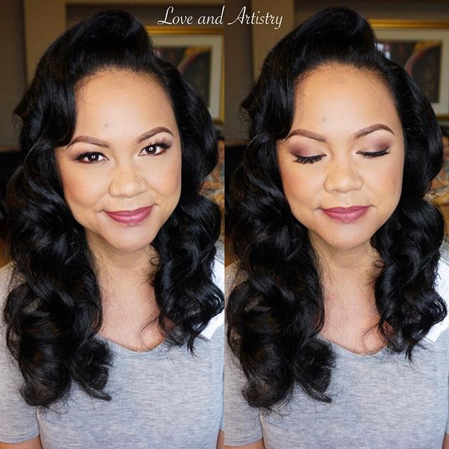 Soft Hollywood Waves + Makeup Design for the Maid of Honor 💕_