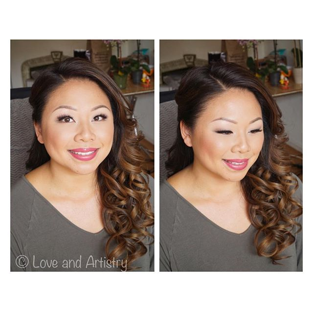 Engagement Shoot Hair & Makeup in San Francisco _ double stacked her lashes for an extra flirty effe