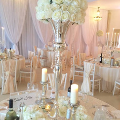 130cm Silver Vase with Ivory Roses