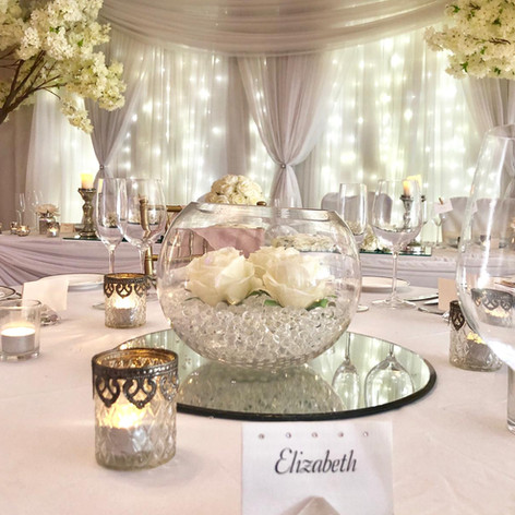 Bubble Bowl with Ivory Roses