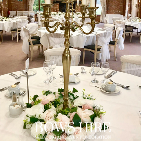 80cm Gold Candelabra with Flowers