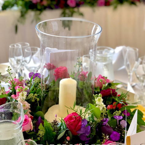 Hurricane Vase with Floral Wreath