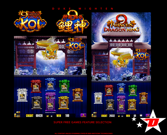 9 Princes of the Dragon King KOI Super Free Games Feature selection