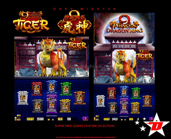 9 Princes of the Dragon King TIGER Super Free Games Feature selection