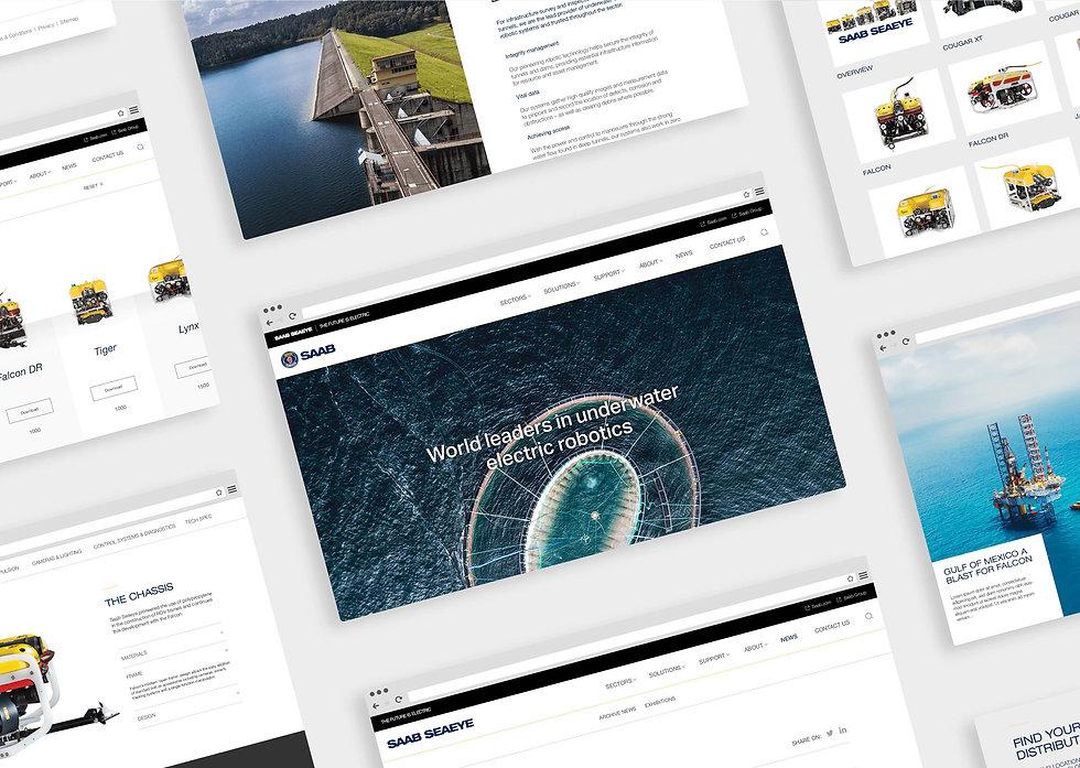 Montage of desktop website page designs