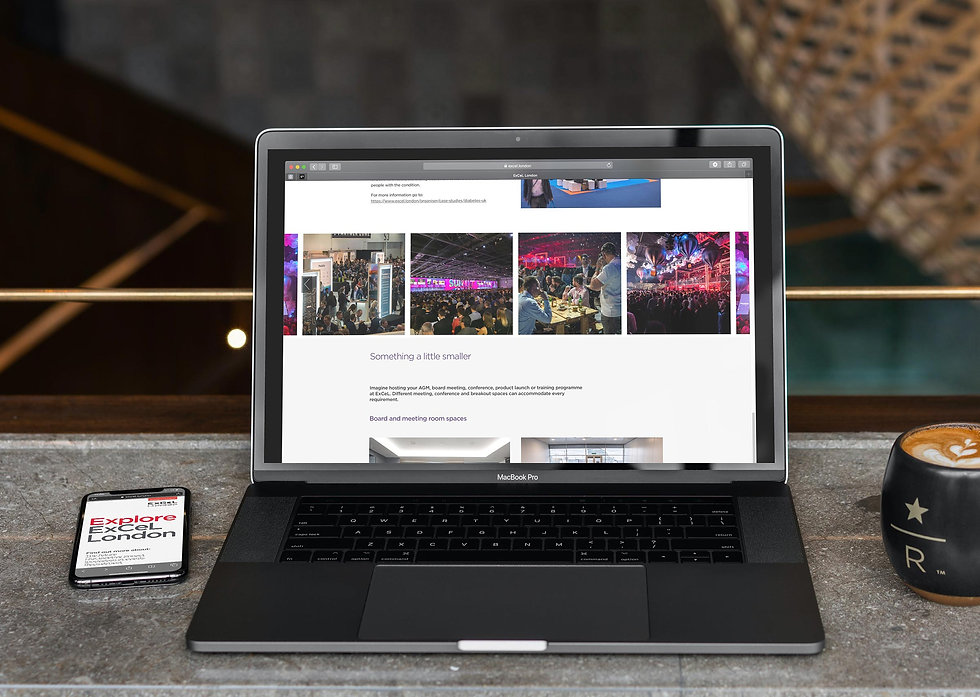 Event microsite displayed on both a MacBook Pro and iPhone