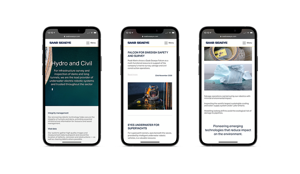 Mobile page designs shown in iPhones