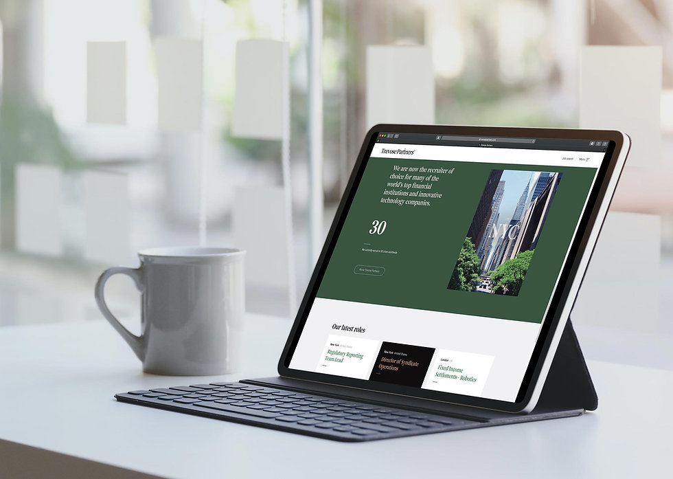 Trevose Partners website displayed on a tablet