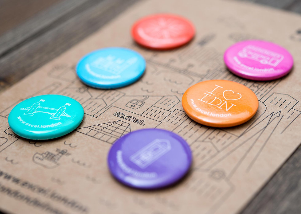 Custom campaign badges on recycled card back