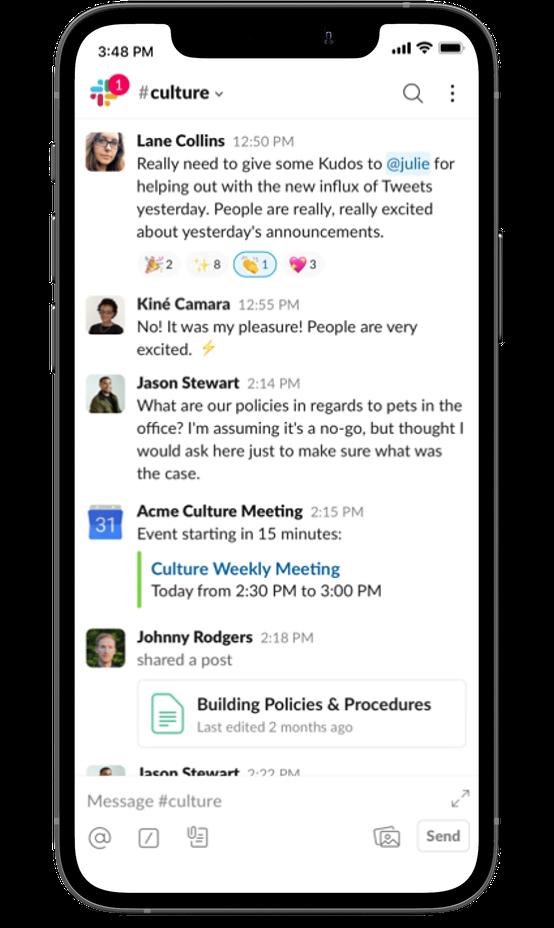 Slack screen on an iPhone 12
