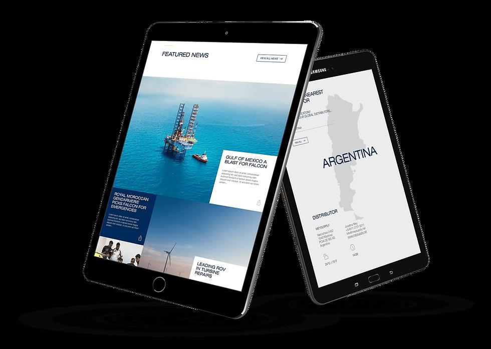 New SAAB website displayed on iPads