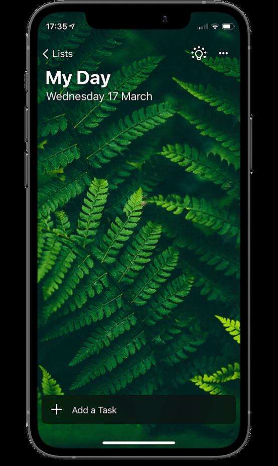 Microsoft todo screen on an iPhone 12