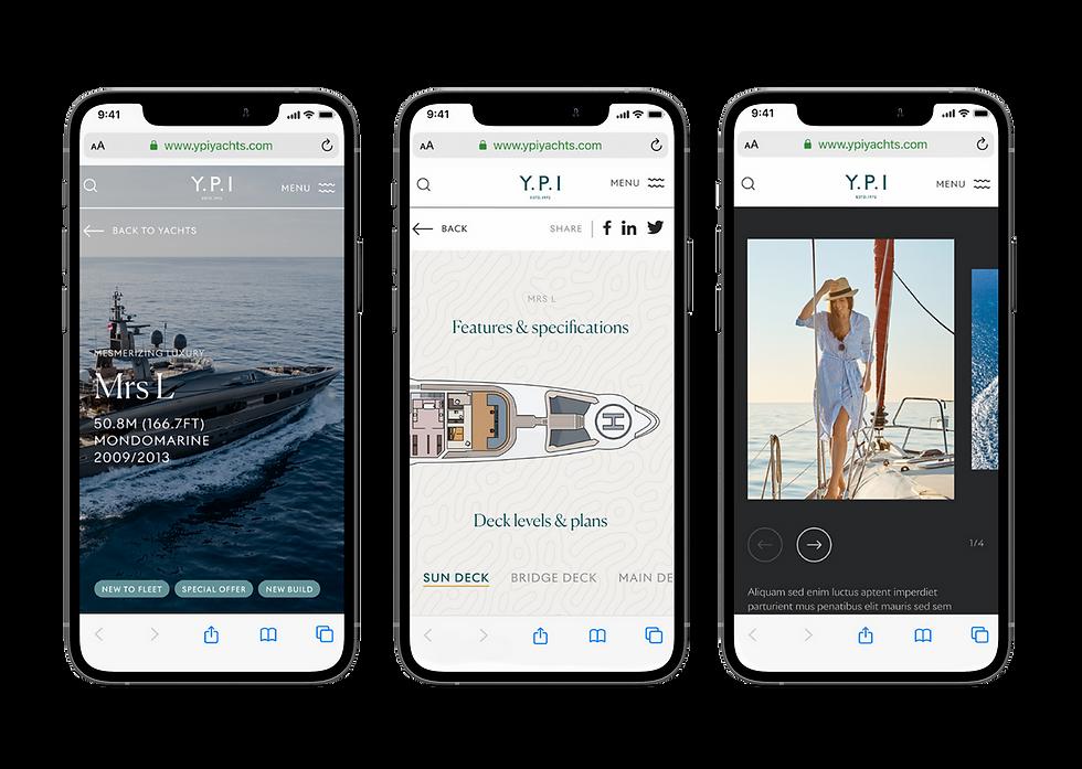 Mobile website designs shown in iPhones