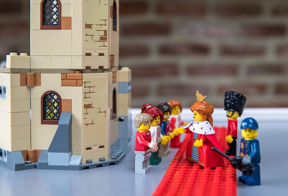 Lego queen greeting her lego subjects