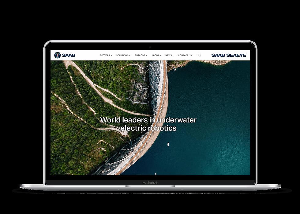 SAAB Seaeye homepage displayed on a MacBook