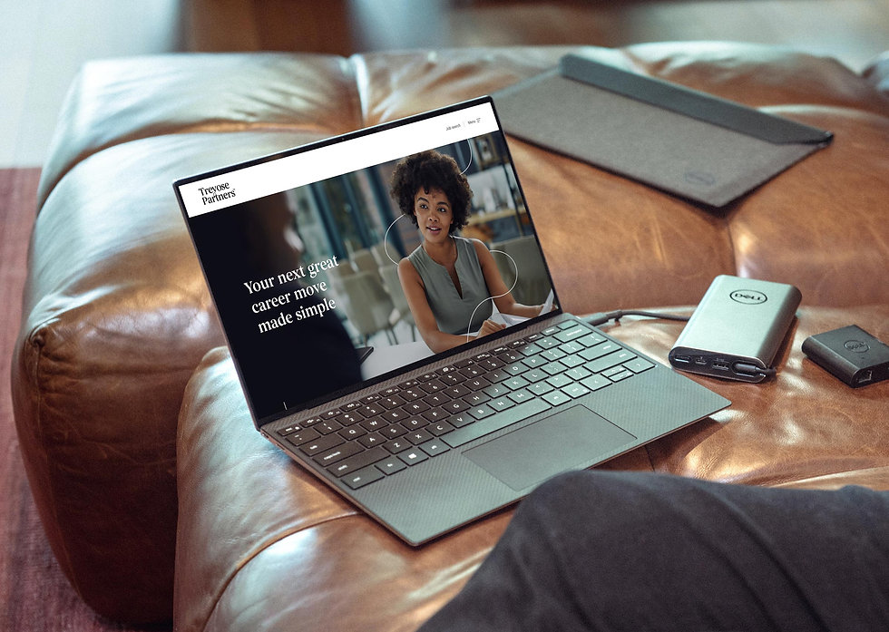 Homepage displayed on a laptop featuring a young female professional