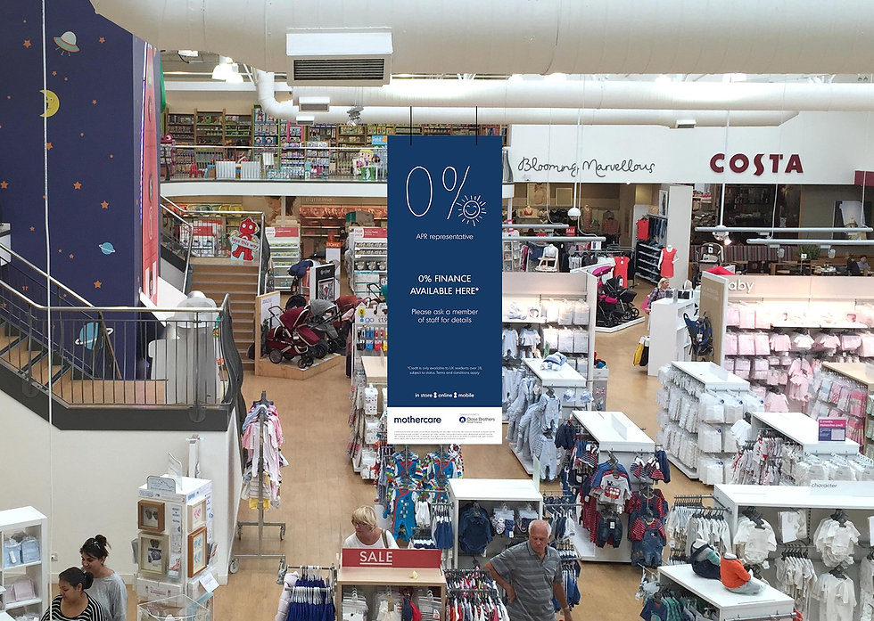 Ceiling hanging point-of-sale in a Mothercare store