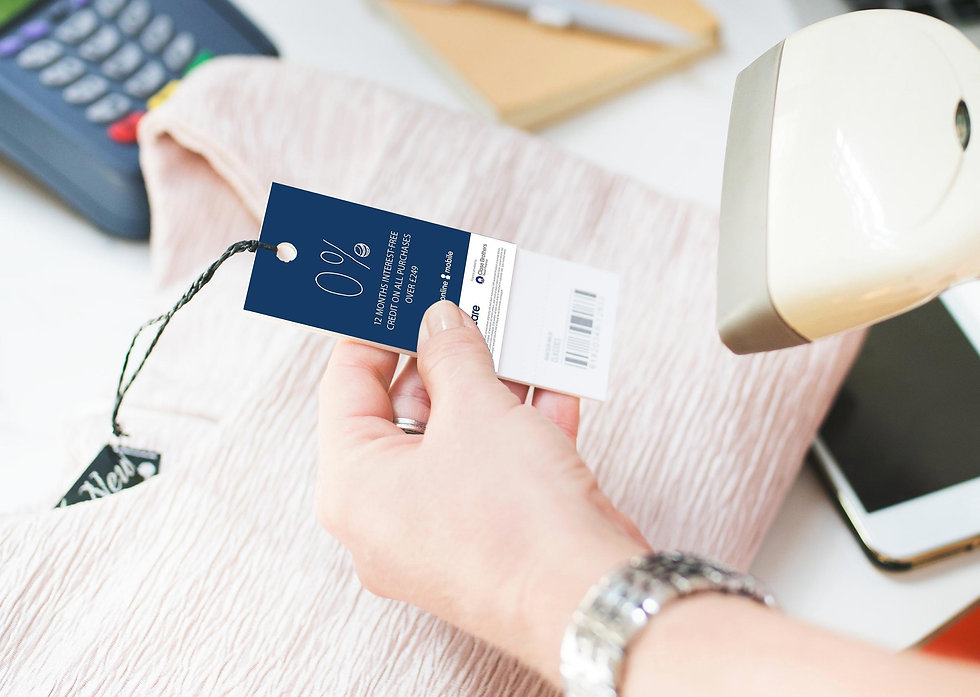 0% finance clothing label being scanned at a till