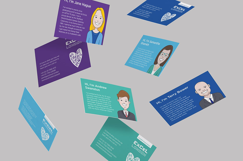 Campaign business cards for the ExCeL team
