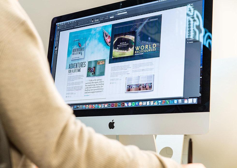 Designer working on the catalogue design
